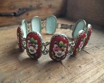 Vintage Russian enamel cloisonné bracelet, Rostov Finift, filigree porcelain link bracelet, orange red floral design, folk art jewelry