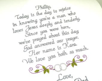 Wedding Day Gift for My Son from Mom and Dad Wedding Gift, Wedding Day Gift Today is the Day You marry your Bride