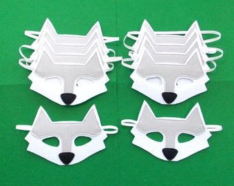 Wolf Masks - Party Pack - 10 Masks - Kid's Mask - Wolf - Mask - Dress Up - Play - Costume - Party Favor - Dress Up - Halloween - Gray