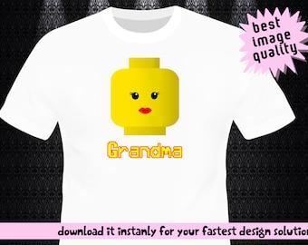 Lego Iron On Transfer / Lego Birthday Shirt / Grandma Lego DIY Shirt / Iron On Transfer / Digital File / 300 Dpi