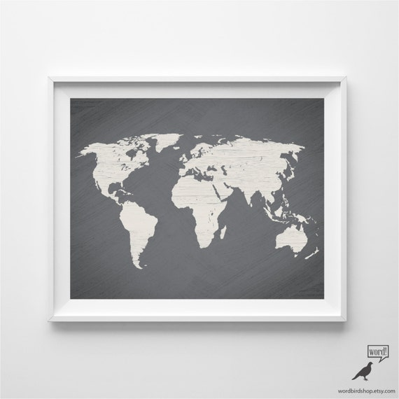 Gray world map poster large world map print modern home gray world map poster large world map print modern home decor travel decor map art gift for him wall art gumiabroncs Gallery