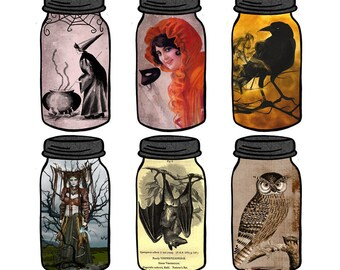 Halloween Mason Jar Tag Printable with Witches Bats Raven Owls Cauldron Digital Collage Sheet Download Junk Journal Tags Pocket Cards