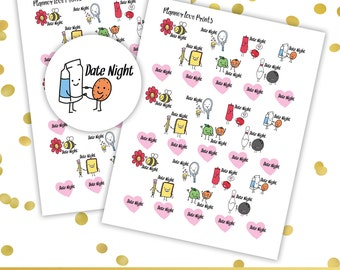 DATE NIGHT PRINTABLE Planner Stickers | Instant Download | Pdf and Jpg Format