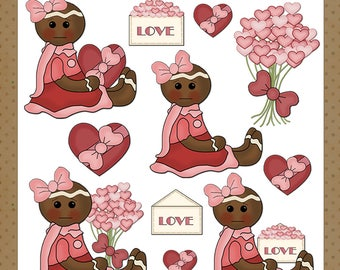Little Ginger Valentine - Digital Images for Scrapbooking & Paper Crafts