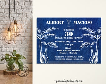 Men's Birthday Party Invitations, 30th Birthday Invite, 40th Birthday Party, Bachelor Party, 21st Birthday, Denim, Casual, Country, Adult