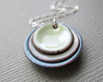 Tea Green Gray Blue Modern Minimalist Enamel Necklace Sterling Silver