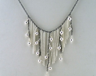 """Rocker Chic Necklace in Silver - 15"""" silver and gunmetal chain necklace handmade to order in NYC."""