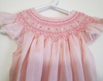 Hand Smocked Girl's Bishop Dress, Pink Tone on Tone Striped Fabric, Size 2