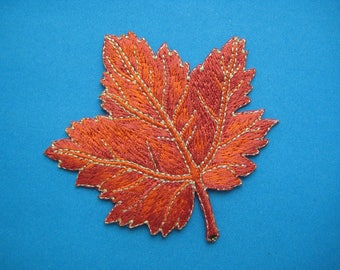 SALE~ Iron-on Embroidered Patch Maple Leaf (red) 3 inch