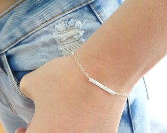 Hammered bar bracelet, Dainty stacking bracelet, layering bracelet, Simple bracelet, Sterling silver bracelet, Gift for her, Allergy free