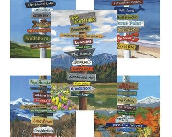 All 5 NH Signpost Poster, NH Seacoast, NH Lakes Region, Pinkham Notch, Franconia Notch, Crawford Notch  11x17 or 8x12 print