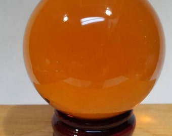 8 CM Amber Crystal Ball - includes rosewood stand & crystal ball instructions - sacral chakra - naval chakra