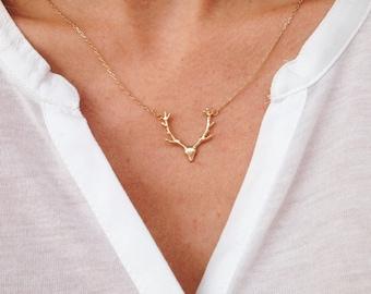 Deer Antler Necklace Gold Deer Jewelry Antler Jewelry Silver Deer Necklace Rustic Wedding Jewelry
