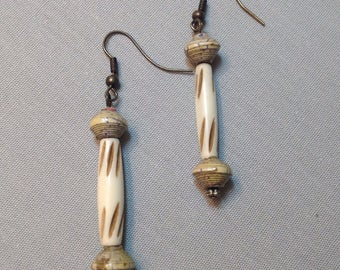 Handmade Bone and African Recycled Paper Earrings