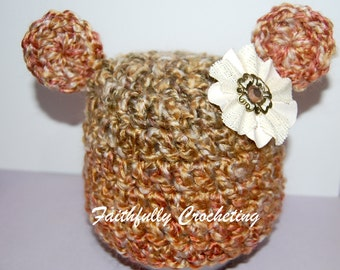 Newborn Fuzzy Bear Hat... Flower hair clip.. Photography Prop... Ready to ship