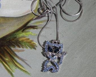 Blue Rhinestone Kitty Cat Heart Pendant Necklace on Chain    NAQ32