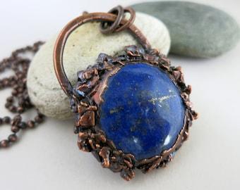 Lapis Lazuli Necklace, Electroformed Copper,  Rustic Stone Jewelry, Unique Handmade Pendant and Chain