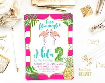 Flamingo Birthday Invitation - Birthday Party invitation - Printable Digital Invite - Luau Invite