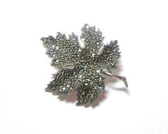 Sale  Leaf Brooch Pin Vintage 925 Sterling Silver Marcasite