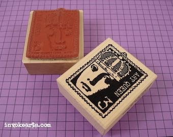 Art Queen Post Stamp / Postoid / Invoke Arts Collage Rubber Stamps
