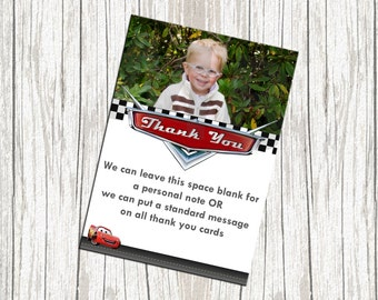 Lightning McQueen Cars Birthday Thank You Card - Custom with Photo