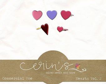 Commercial Use Hearts~Digital Heart Brads~Valentine Hearts~Heart Charms~Digital Elements~CU OK~Commercial Use Elements~High Quality CU