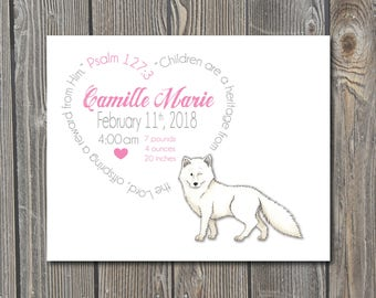 Arctic Fox, Fox Baby, Winter Baby, Personalized Birth Print, Baby Birth Print, Custom Birth Print, Birth Announcement, Girl, Boy, Baby Gift