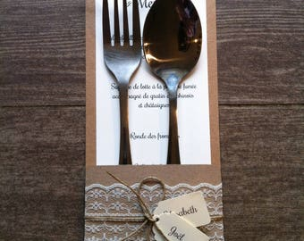 A 3 in 1: put cutlery, menu and mark up kraft and lace style country chic wedding theme