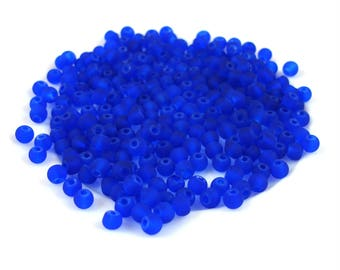 200 beads in dark blue 4 mm frosted glass