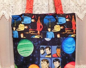 Star Trek Original Series Themed Tote Handbag Kirk Spock Scotty Uhura Bones Sulu Chekov Handmade USA Sturdy