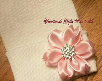Solid White Newborn Hospital Hat w/ Flower and Rhinestone in it! Hospital Beanie. aDOrABle! Every Baby Should have! Beautiful For Your Love!
