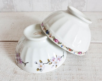 Set of 2 Vintage French LIMOGES Fluted Porcelain Mini Bowls Floral Decor || Shabby Chic Cottage - Rustic & Country Style