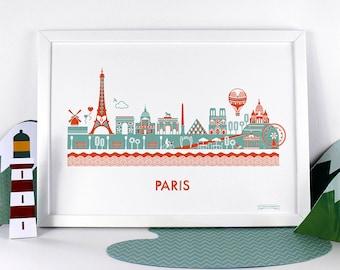 Paris Skyline Print