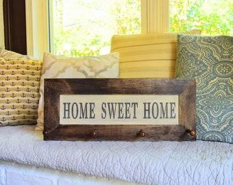 Home Sweet Home, Coat Hanger, Shaker Pegs, Farmhouse Finds, Farmhouse Sign, Home Sweet Farmhouse, Wall Hanger
