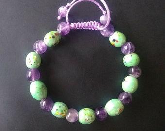 Beautiful Handmade Green Porcelain and Amethyst Bracelet. Healing Bracelet. Adjustable.