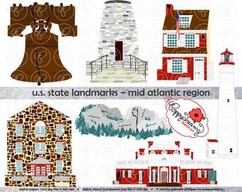 U.S. State Landmarks Mid Atlantic Region Digital Clip Art: Pennsylvania New Jersey Delaware Maryland Virginia West Virginia  Travel