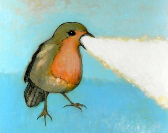 flaming robin no. 1 ORIGINAL mixed media painting ink and paint on wood 8 x 8
