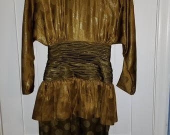 Vintage Silk yellow gold green dress size 4
