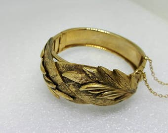 Beautiful Leaf Etched  Bracelet Hinged Cuff Safety Chain
