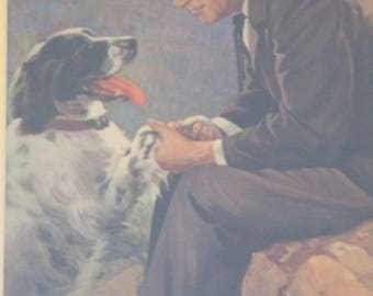 Framed Vintage Will Rogers with his Dog He Made the World Laugh & Think A. D'Elia