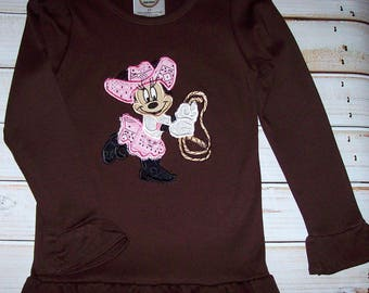 Sample SALE Minnie Mouse Cowgirl Applique Brown Long Sleeve Shirt Size 3T--Pictures--Birthday Party--Vacation--Ready To Ship