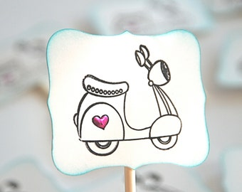 Vespa Love - Cupcake Toppers/Party Sticks