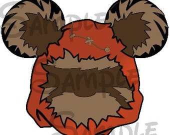 Ewok (Star Wars) Character inspired Mickey head DIGITAL printable file DIY