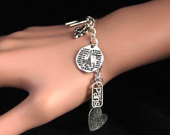 Paris Bracelet. French Charm Bracelet. France Bracelet. Travel Bracelet. Tourist Bracelet. Silver Bracelet. Handmade Jewelry.