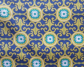 Pisida Medallion Blue/Green Cotton Duck Fabric Sold by the Yard