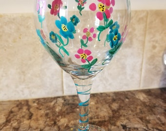 Flower painted glass/votive