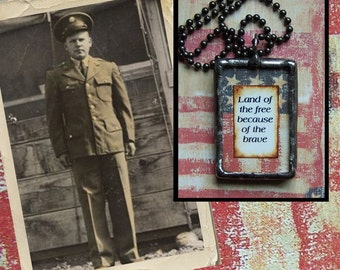 Custom photo patriotic charm soldered glass pendant or keychain