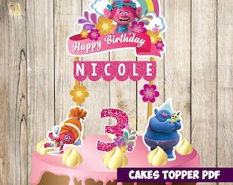 Trolls Cake Topper, Trolls Birthday, Trolls Party, Trolls Banderin, Custom and Printable Topper, Trolls birthday