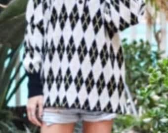 Diane Von Furstenberg Argyle Sweater