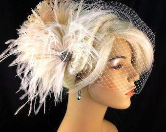 Fascinator, Bridal Feather Fascinator, Bridal Fascinator, Bridal Headpiece, Bridal Hair Accessories, Birdcage Bridal Veil